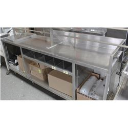 "STAINLESS STEEL TABLE WITH SHELVES 86""X23"""
