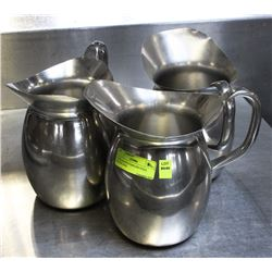3 VOLLRATH STAINLESS STEEL WATER JUGS.