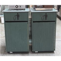 TWO GREEN WOODEN COMMERCIAL WASTE BIN