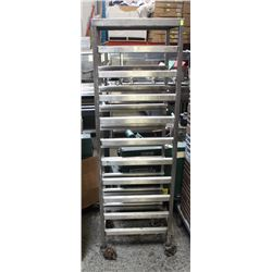 "66"" S/S TEN SLOT COMMERCIAL BUN RACK ON WHEELS"
