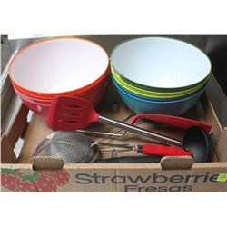 FLAT WITH BRAND NEW SPATULA BOWLS, SIFTERS AND