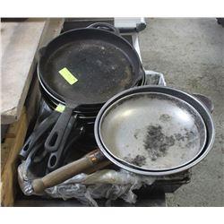 PALLET OF FRYING PANS ETC.