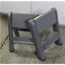 GROUP OF 2 RUBBERMAID FOLDING STEP STOOLS