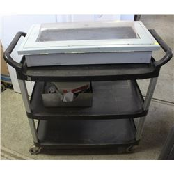 COMMERCIAL BLACK SERVICE CART WITH FIRE