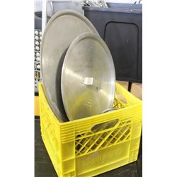 CRATE WITH ASSORTED ALUMINUM PAN LIDS