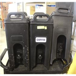 GROUP OF 3 BLACK INSULATED BEVERAGE DISPENSERS