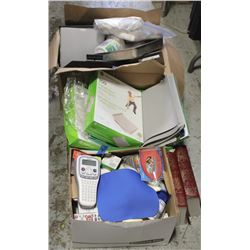 3 BOXES OF OFFICE SUPPLIES, CLIPS, ELECTRONICS AND