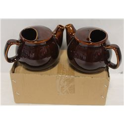 2 NEW  BROWN-FINISH 2 CUP TEAPOTS