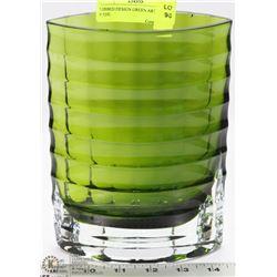 RIBBED DESIGN GREEN ART GLASS VASE.