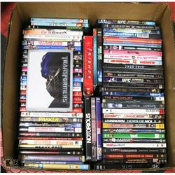 LARGE BOX W/OVER 75 DVD MOVIES -