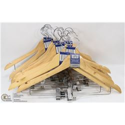 LARGE BOX OF NEW WOOD SUIT HANGERS