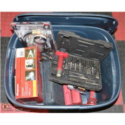 BOX 1 CONTAINS BRAND NEW WORK LIGHT, PLIERS,
