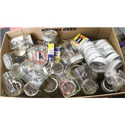 BOX WITH 30 CANNING JARS, LIDS & RUBBER RINGS.