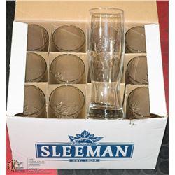 BOX  OF 12 NEW 20 OZ SLEEMAN BEER TUMBLERS.