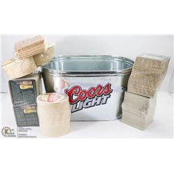 COORS LIGHT TIN BEER TUB W/DOZENS OF NEW, NAME