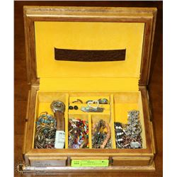 WOOD & LEATHER JEWELLERY BOX FULL OF