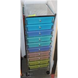 10 DRAWER STORAGE CART WITH ORGANIZER TOP &