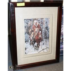 FRAMED 3D PAPER TOLE COWBOY IN WINTER SCENE -