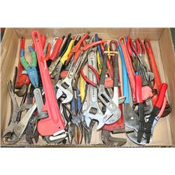 FLAT OF ASSORTED WRENCHES, SNIPS AND CRIMPS
