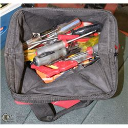 RED MILWAUKEE TOOL BAG WITH CONTENTS