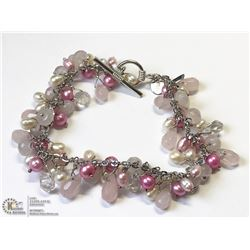 12) ST. SILVER PINK DYED BEADED PEARLED BRACELET