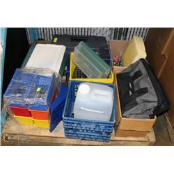 PALLET WITH TOOL BOX FILLED WITH TOOLS, TOASTER,