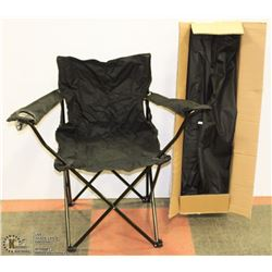 CASE OF 4 NEW FOLDING LAWNCHAIRS (BLACK)