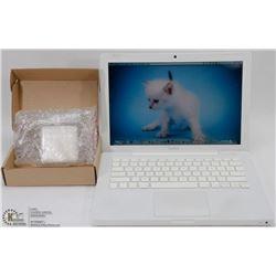 WHITE APPLE MACBOOK W/ WEBCAM