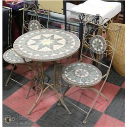 DECORATIVE BISTRO TABLE AND 2 CHAIRS, METAL