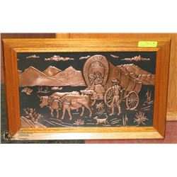 VINTAGE 1966 FRAMED COPPER ART OF THE EARLY
