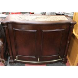 WOOD AND MARBLETOP BAR WITH DRAWER, 2 DOOR STORAGE