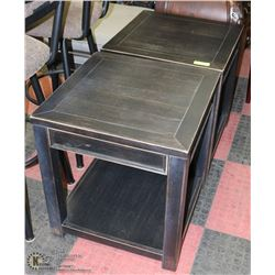 PAIR OF WOOD END TABLES