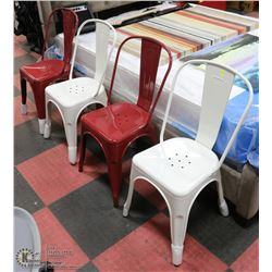 SET OF 4 RED AND WHITE METAL SIDECHAIRS