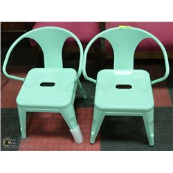 PAIR OF GREEN CHILDRENS METAL CHAIRS