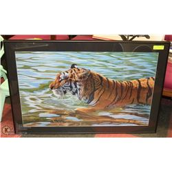 VINTAGE SIGNED TIGER PICTURE BY FLODIN  FRAMED.