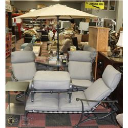 DELUXE METAL AND GLASS PATIO TABLE SET INCL
