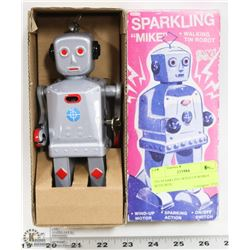 TIN SPARKLING WIND UP ROBOT WITH BOX.