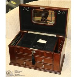 SOLID WOOD JEWELLERY BOX WITH KEY