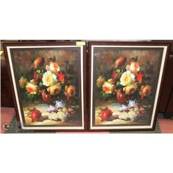 PAIR OF FLORAL PRINTS MATTED FRAMED.