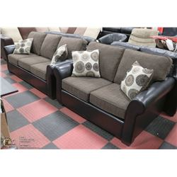 """NEW FABRIC AND LEATHERETTE 78"""" SOFA WITH 59"""" LOVE"""
