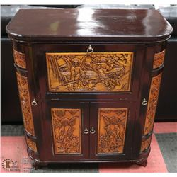 AS IS CARVED WINE CABINET/BAR WITH SIDE WINE GLASS
