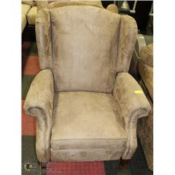 BROWN MICROFIBRE RECLINING WING BACK PARLOUR