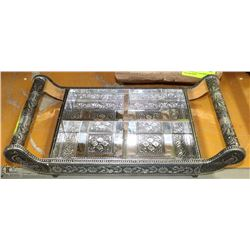 CARVED SILVER TONE  4 SELECTION SIDE DISH TRAY
