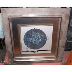 METAL ABSTRACT FRAMED PICTURE W/ARTIST