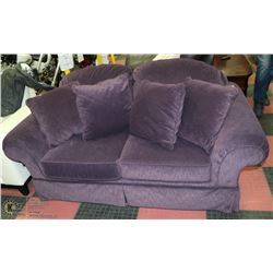 "PURPLE FABRIC 68""  LOVE SEAT WITH CUSHIONS"