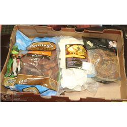 LARGE FLAT OF ASSORTED DOG TREATS INCL PIG EARS,