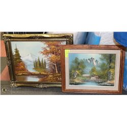 2 FRAMED AND MATTED LANDSCAPE OIL  PAINTINGS