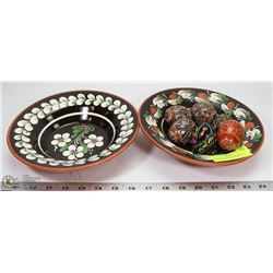 ESTATE LOT WITH 2 MATCHING HANDPAINTED PLATES &