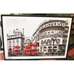LONDON BLACK , WHITE AND RED ACCENT FRAMED PICTURE