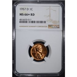1957-D LINCOLN CENT, NGC MS-66+ RED